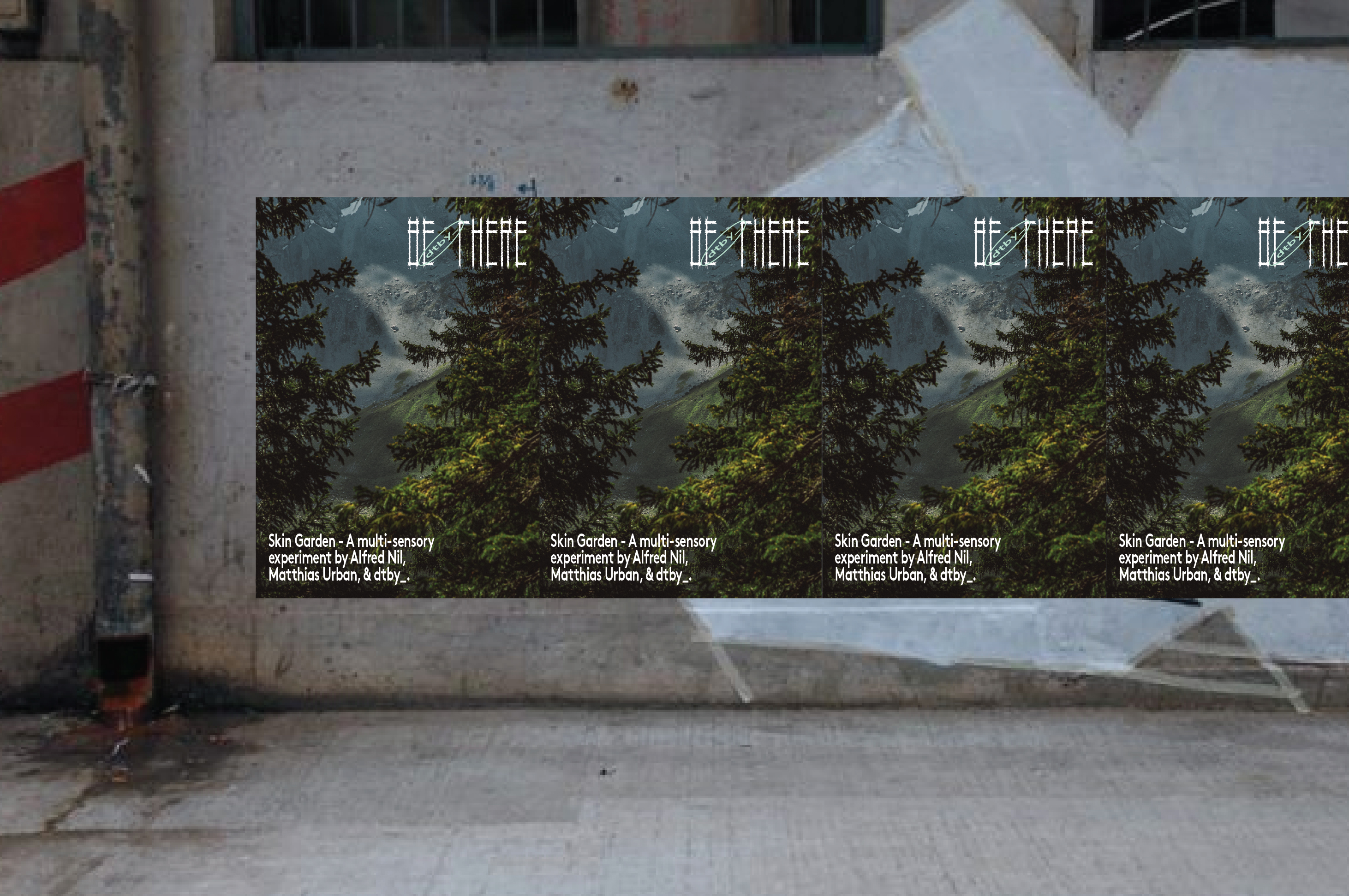 Bill poster for BE THERE - Design Festival in Sham Shui Po by dtby_, Ron Wan, and Mildred Cheng.