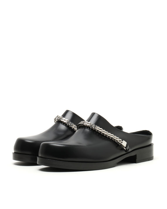 Ron Wan with 1017 ALYX 9SM black clog shoes online only at I.T eSHOP.