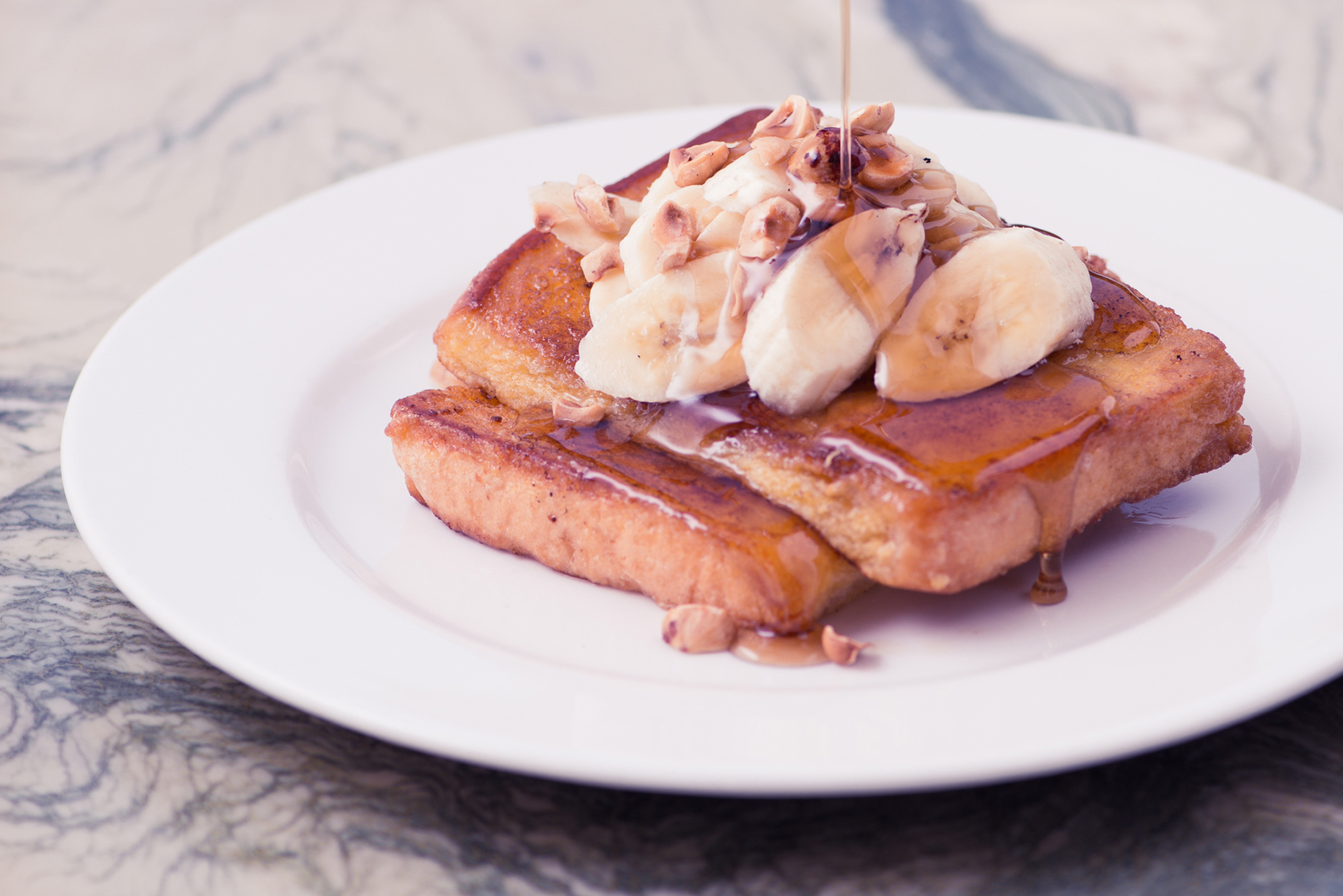 Ron Wan: Art Direction, Graphic Design, Classified Restaurant French toast with banana, hazelnut, and syrup