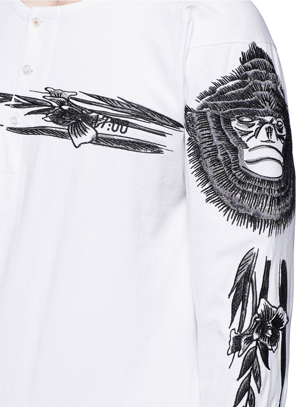 Ron Wan: Textile design for SAAM1. Monkey and Gladiou Embroidery henley shirt and souvenir jacket. Only at Lane Crawford