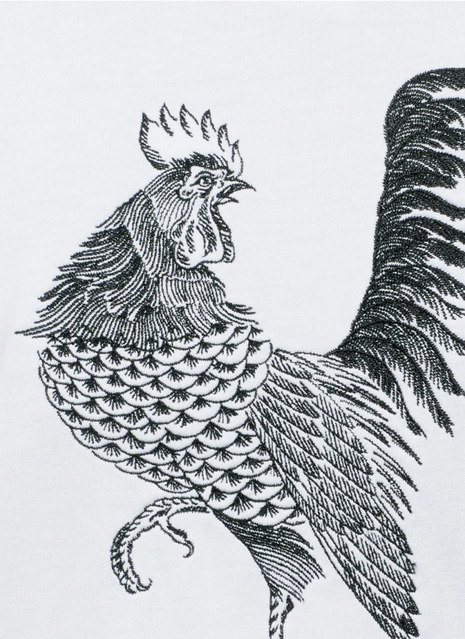 Ron Wan: Textile design for SAAM1. Rooster and Cockscomb Embroidered Henley Shirt. Only at Lane Crawford.