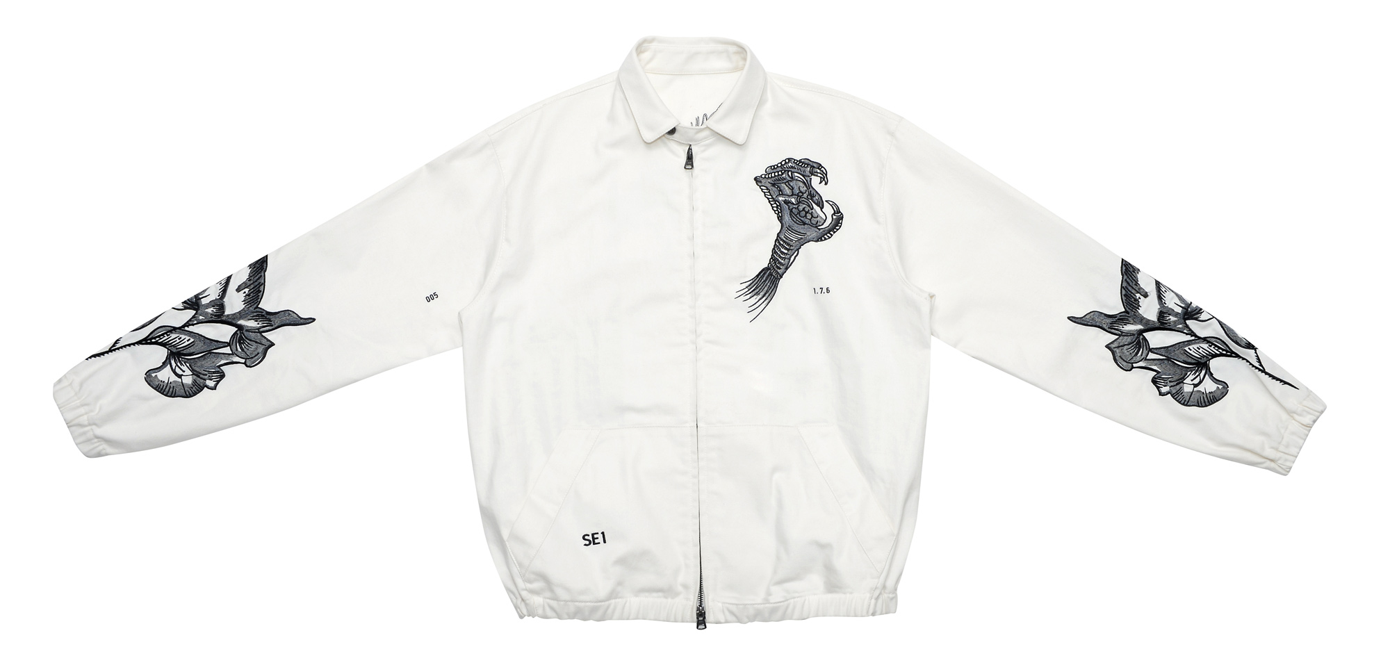 Ron Wan: Textile design for SAAM1. Dragon and Sweet Pea Embroidery henley shirt and souvenir jacket. Only at Lane Crawford