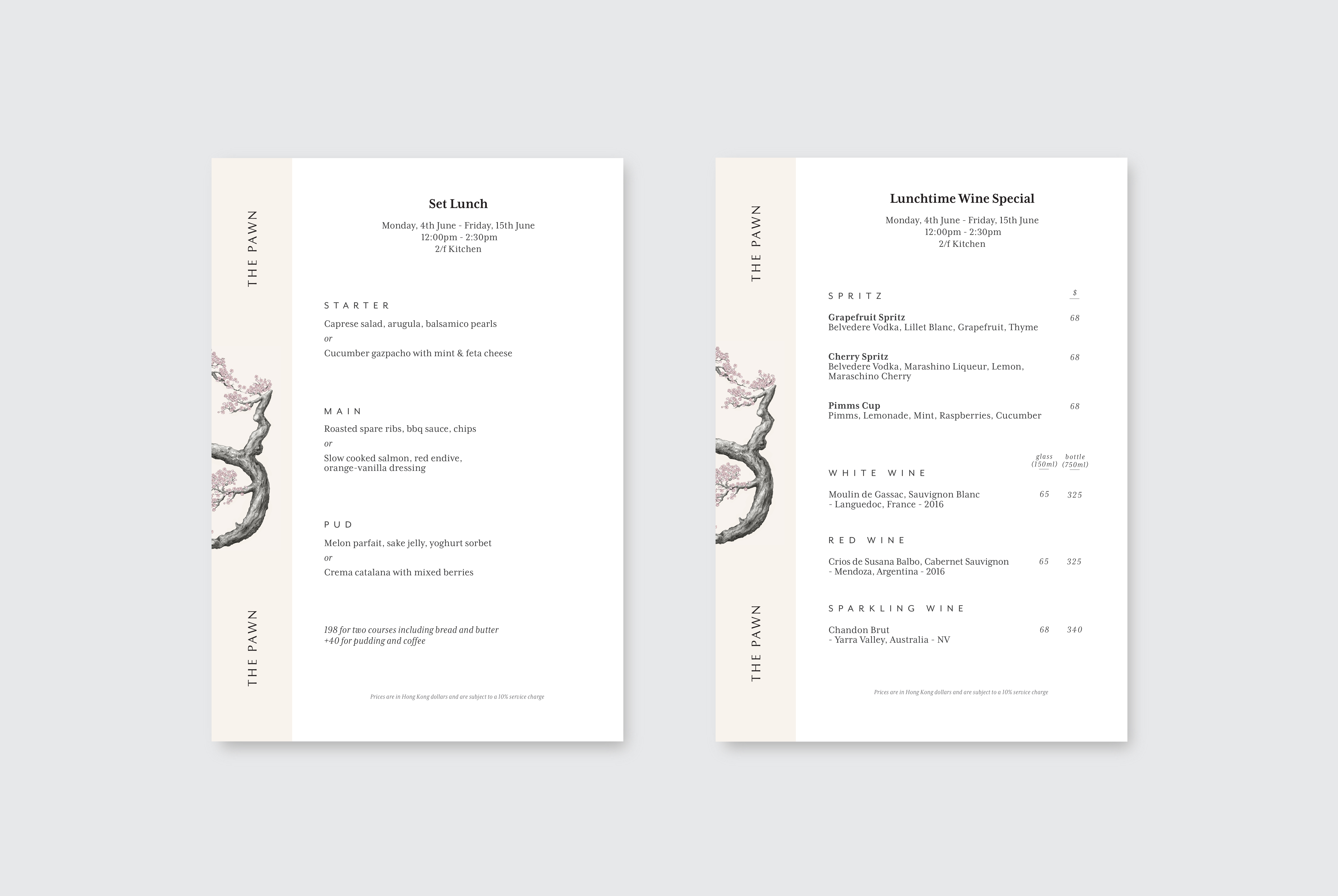 Menu Design by Ron Wan. A La Carte Dining at The Pawn's 2/F Tom Aikens Kitchen in Wan Chai, Hong Kong