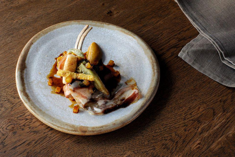 Menu Design by Ron Wan. Piglet, roast gem, pineapple fondant, sage, caramilised squid