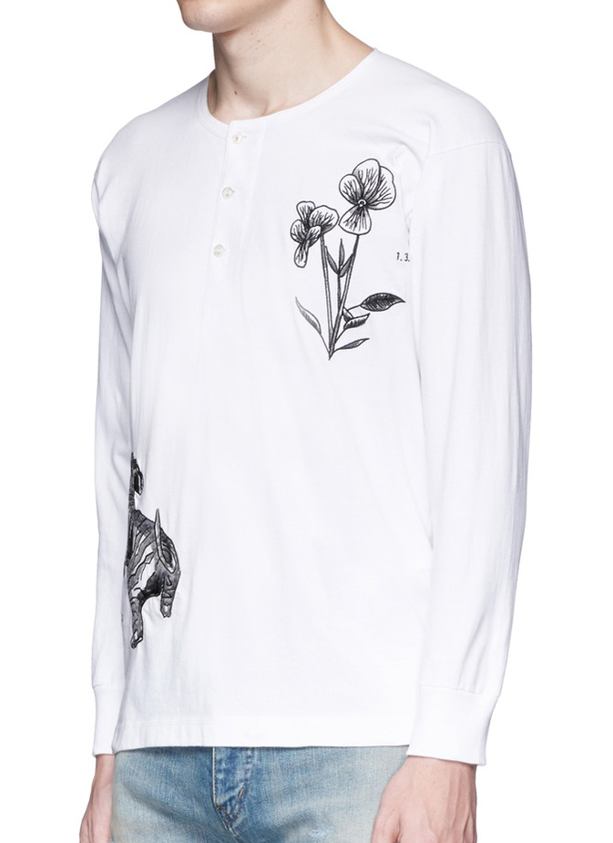 Ron Wan: Textile design for SAAM1. Dragon and Sweet Pea Embroidery henley shirt and souvenir jacket. Only at Lane Crawford.