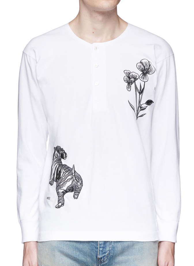 Ron Wan: Textile design for SAAM1. Violet and Tiger Embroidery henley shirt and souvenir jacket. Only at Lane Crawford