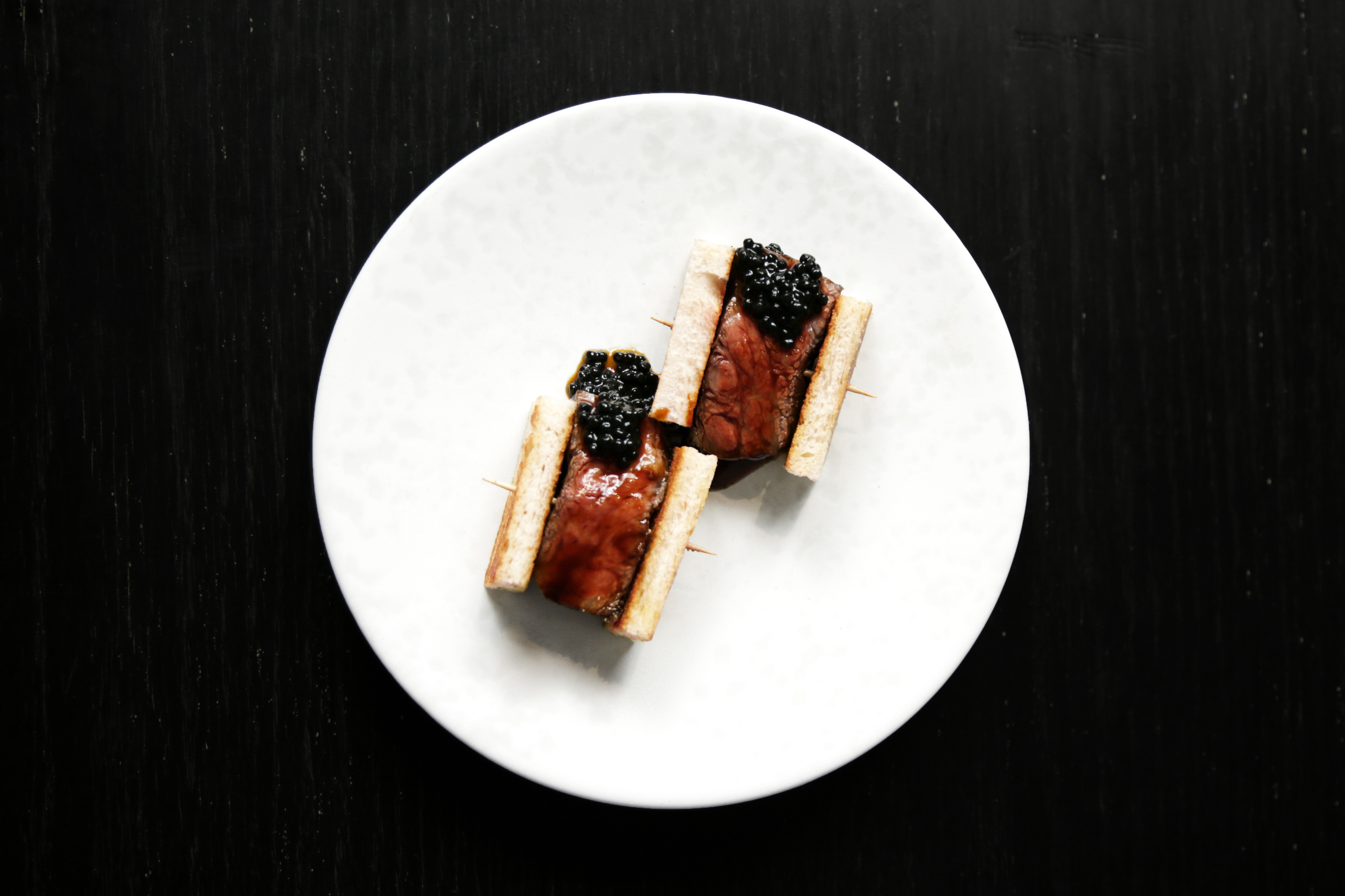 ET Snack Bar at Back Bar, Ham and Sherry. Wagyu Beef Sandwiches, Truffle Pearls.