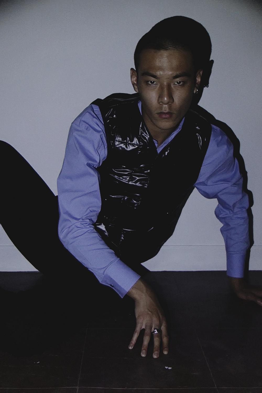Ron Wan with model Jonathon Wong in Karmuel Young